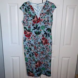 New York & Company Sky Blue Floral Dress